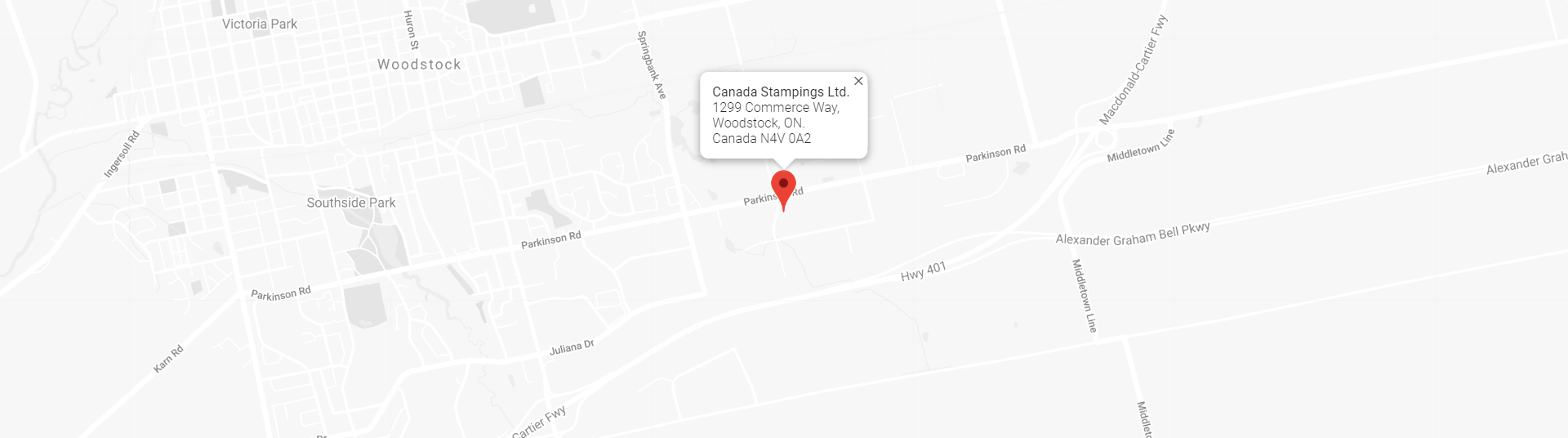 Canada Stampings Homepage Map